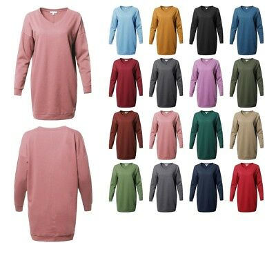 FashionOutfit Women's Casual Over-sized Loose Fit V-neck Tunic Length Sweatshirt