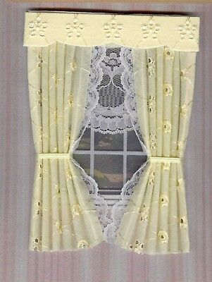Dolls House Curtains Yellow Broderie Anglaise