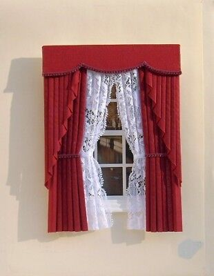 Dollshouse Curtains Deep Red Swag With White Tied Nets
