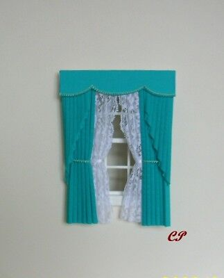 Dollshouse Curtains Turquoise  Swag With White Tied Nets