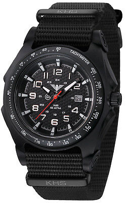 KHS Tactical Watches Infantry Men's Military Watch Analog Date Army Strap Black