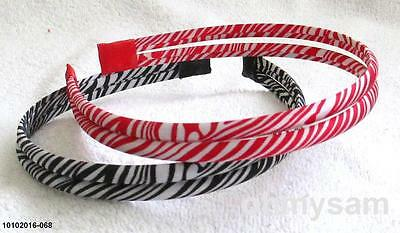 "2 New Multi Color Satin Cover Hard Headband 1/2 "" /2 Strand Zebra Animal Print B"