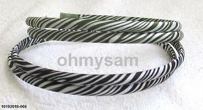 "2 New Multi Color Satin Cover Hard Headband 1/2 "" /2 Strand Zebra Animal Print F"