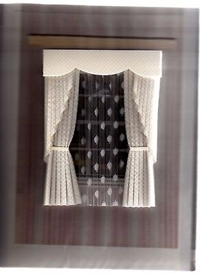 Dolls House Curtains Cream  Swag Effect
