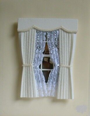 Dolls House Curtains Cream &  Braid With Tied Nets