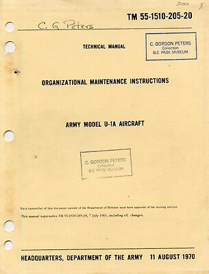 ORGAZATIONAL MAINTENANCE INSTRUCTIONS ARMY MODEL U-1A (de HAVILLAND OTTER) AIRCR