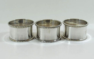 Vintage Silver Plated Napkin Rings with Beaded Edge x 3