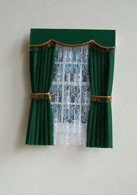 Dolls House Curtains Green With Gold Fringe