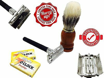 DOUBLE EDGE SAFETY RAZOR SHAVING SET +Badger Hair Shaving Brush FOR MEN GIFT SET