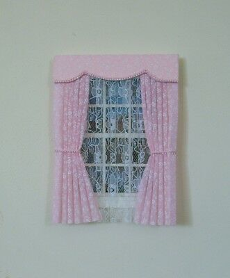 Dolls House Curtains Pink Miniprint