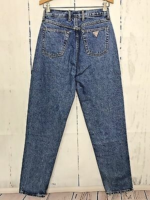 Vintage Guess Jeans Size 31 Tapered Leg High Waist Triangle Pocket Mom Denim 80s