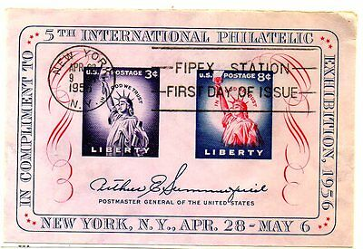 USA - 1956 - 5th INTERNATIONAL PHILATELIC EXHIBITION - SS. CANCELLED ON PAPER