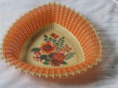 Vintage Plastona plastic weaved Basket dish Made in Greece