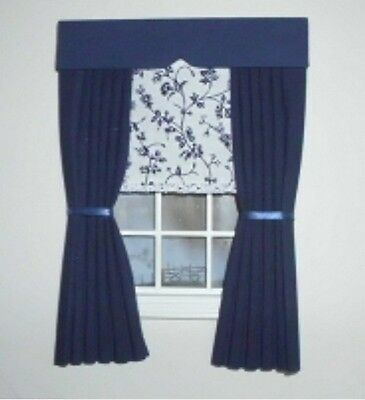 Dolls House Curtains Navy With Blind