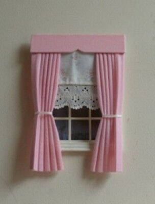 Dolls House Curtains Pink  With Floral Blind
