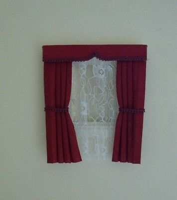 Dolls House Curtains Deep Red For Dormer Windows