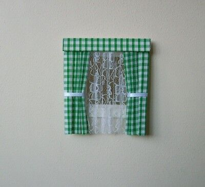 Dolls House Curtains Green Gingham With Nets For Dormer Windows