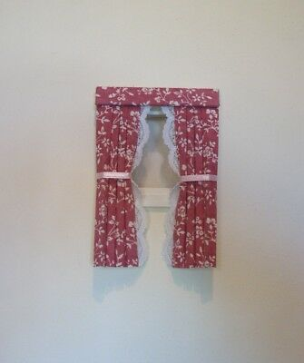 Dolls House Curtains Pink Clematis For Dormer Windows