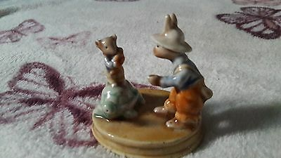 Golden Rose Giftware, Rabbit And Friends Ornament, 1960's, Germany.