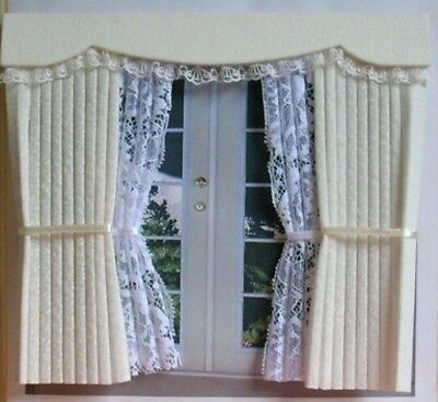 Dollshouse Curtains Cream Outside Bay With Tied Nets