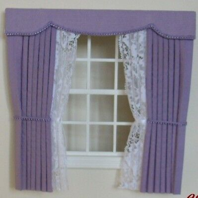 Dollshouse Curtains Lilac Outside Bay With Tied Nets