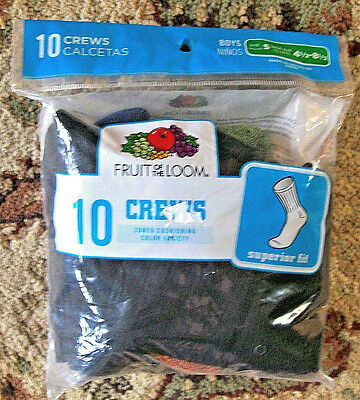 NEW! Fruit Of The Loom 10 Pairs Boys Crew Socks Size S Shoe Size 4 1/2-8 1/2