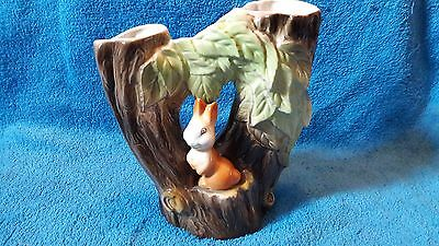 Vintage Eastgate Pottery, Double Tree Branch Vase With Rabbit, Model 74.