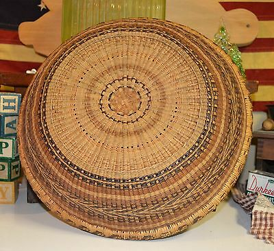 """Antique Woven Utility Bowl Basket Maine Estate 12.5"""" Tight Weave Strong Colors"""