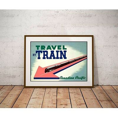 Travel by Train Poster - 1940's Art Deco Train Canadian Pacific Railway