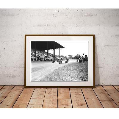 Motorcycle Racing 1947 Poster - Dirt Track Big Crowds In Stadium and Infield
