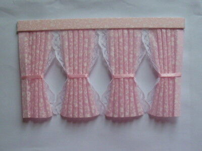 Dolls House Curtains Pink Miniprint Inside Bay
