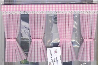 Dolls House Curtains Pink Gingham Inside Bay