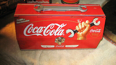 COKE COCA COLA TOOLBOX WITH WRENCH OPEN LID ADVERTISING Sign Advertisement Tin