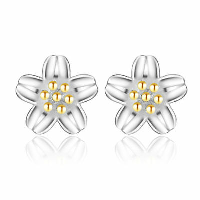 Cute New 2-Tone Silver & Gold Plated Small Precious Flower Stud Earrings