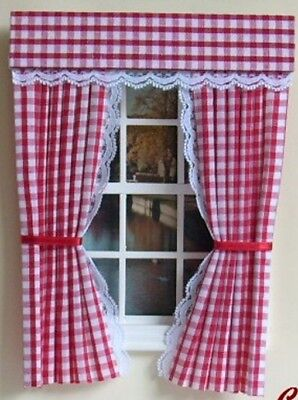 Dolls House Curtains Red  Gingham