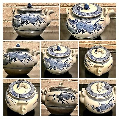 Antique Chinese large hand painted blue&white figural teapot/cover porce