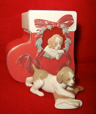 "NAO by LLADRO ""PUPPY'S CHRISTMAS"" #7427- ORIGINAL TIN BOX- GREAT XMAS PRESENT"