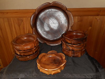 Vintage Monkey Pod Teak Wood Large Fancy Bowl And 7 Small Bowls
