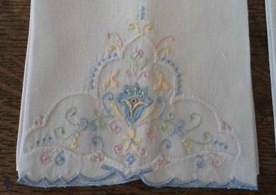 Vintage Pair Madeira Linen Hand Towels Organdy Embroidery Blue Pink Pastels Set