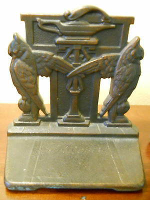 Antique Art Deco Egyptian Revival Signed Judd Owl Owls Cast Iron Bookends