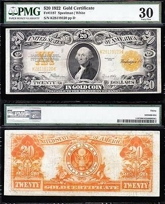 AWESOME Bold & Crisp VF++ 1922 $20 GOLD CERTIFICATE! PMG 30! FREE SHIP K28119120