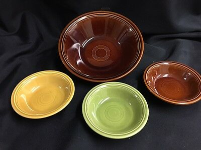 "FIESTA AMBERSTONE SALAD 9"" plus 3 5.5"" bowls one turf"