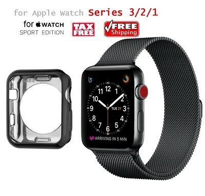 >> Series 3,2,1 Milanese Loop Strap Band + Soft Case For Apple IWatch 42mm Black