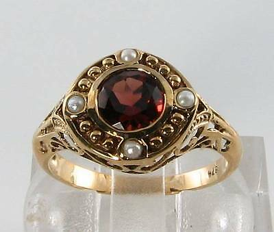 Large 9Ct Gold Art Deco Edwardian Ins Garnet & Pearl Ring Free Resize