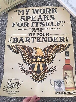 "Sailor Jerry Spiced Rum Eagle Poster ""My Work Speaks For Itself"" Norman Collins"