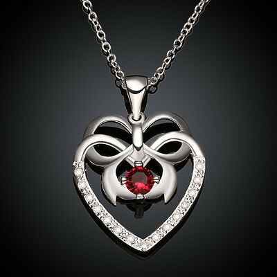 Women Fashion 925 Silver Plated crystal Heart Pendant Necklace Chain Jewelry