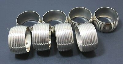 Set Of 8 Napkin Rings Ribbed Finish 1 Inch Thick