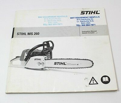 Stihl MS 260 Instruction Manual For Chainsaw