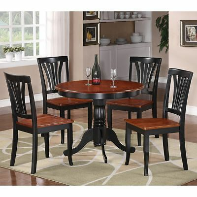 East West Furniture Antique Round Table Dining Set with Wood Seat Chairs