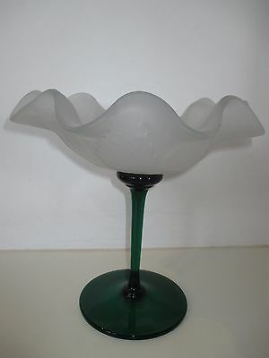 Vintage Scalloped Footed Glass Bowl with a Green Stem Leaf Pedestal Compote